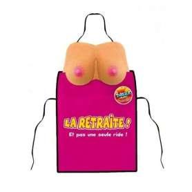 Tablier femme seins en l'air avec inscription la retraite et pas une seule ride