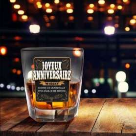 Verre à whisky joyeux anniversaire