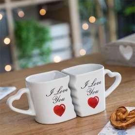 Tasses imbriquées I love you avec anses cœurs