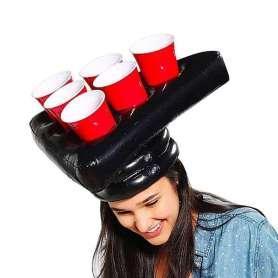 Chapeaux gonflables jeu à boire beer pong avec gobelets