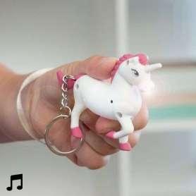 Porte-clés en forme de licorne avec son et lumière