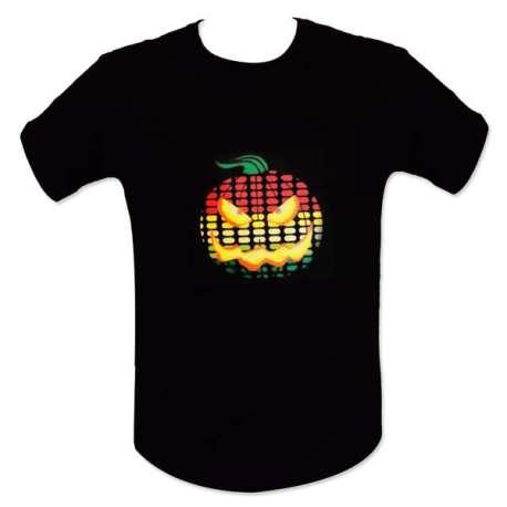 T-shirt equalizer interactif à citrouille LED lumineux