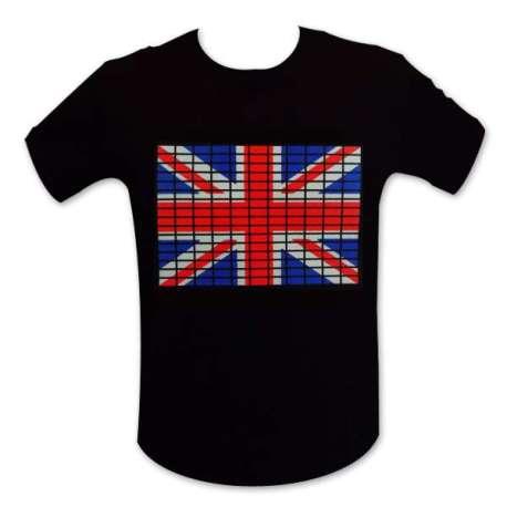 T-shirt avec drapeau anglaise LED