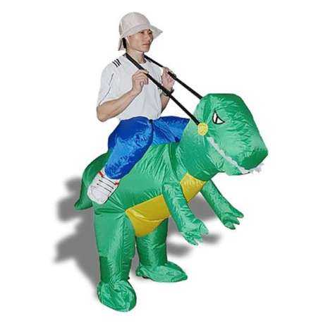 Costume gonflable explorateur sur dos de dinosaure
