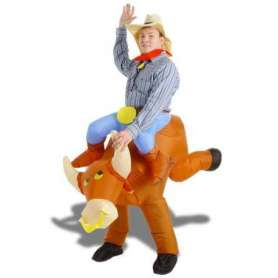 Costume gonflable toréro à dos de taureau