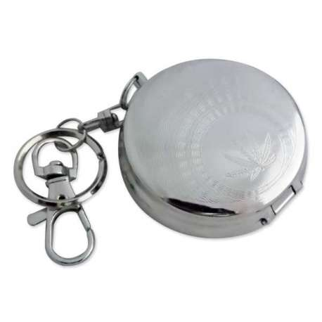 Porte-clés cendrier de poche motif cannabis encerclé de vagues