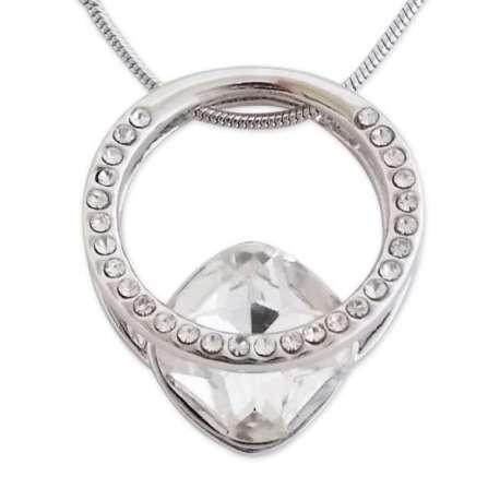 Collier argenté à pendentif en forme géométrique