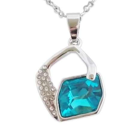 Collier argenté : pendentif losange et faux cristal turquoise