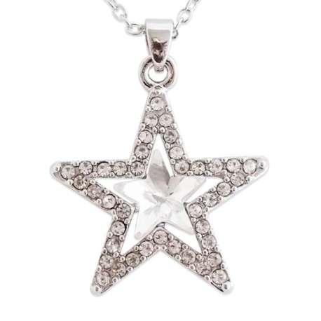 Beau collier argenté à pendentif étoile scintillant
