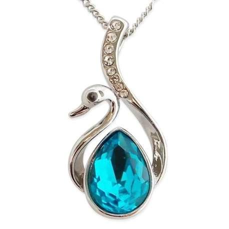 Collier argenté, à pendentif cygne bleu avec strass
