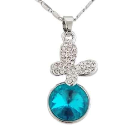Collier argenté à pendentif boule de cristal bleue, papillon brillan