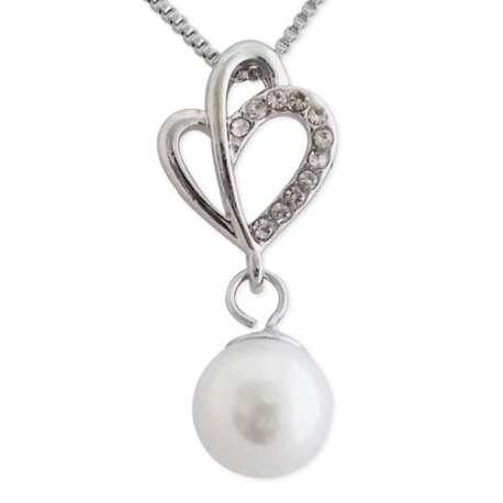 Collier pendentif strass et fausse perle nacrée