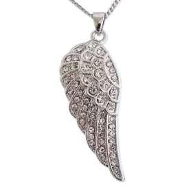 Collier à pendentif en forme d'aile conçu en strass