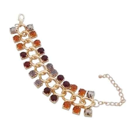 Bracelet large doré avec faux cristaux multicolores