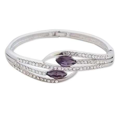 Sublime bracelet fantaisie argenté et serti de 2 pierres violettes