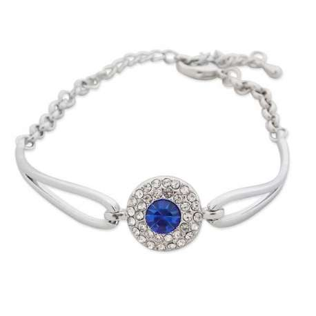Bracelet argenté avec pierre bleue et strass