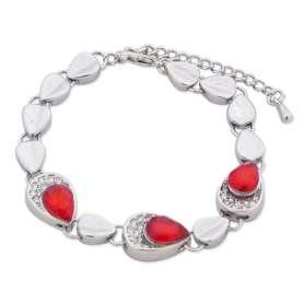 Joli bracelet argenté en forme de goutte, serti de pierre rouge