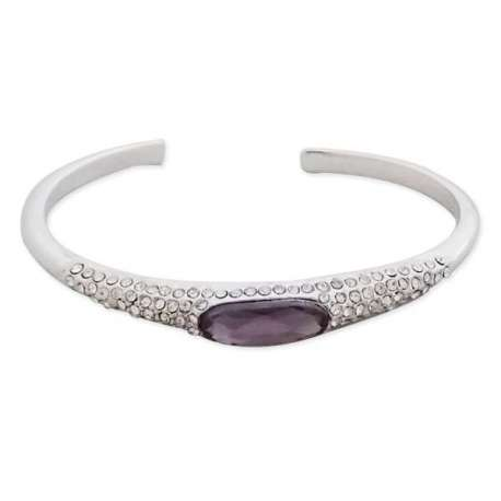 Joli bracelet argenté serti de pierre mauve et de strass brillants