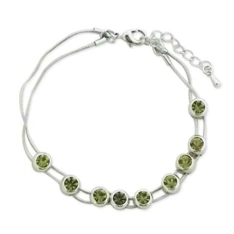 Bracelet fantaisie à double chaîne orné de pierre verte