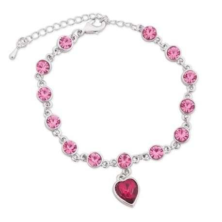 Bracelet argenté avec fausses pierres roses circulaires et en coeur
