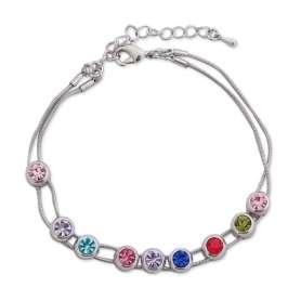 Bracelet à deux branches argentées, embelli par des pierres