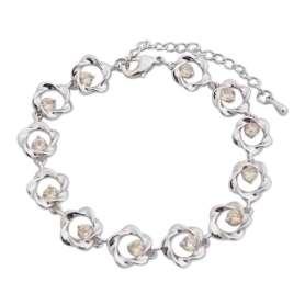 Bracelet à fleurs argentées et faux cristaux