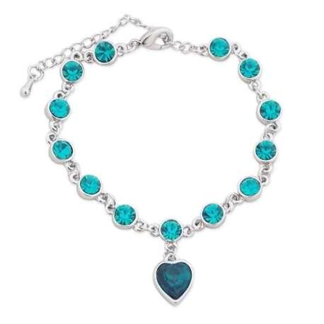 Bracelet à faux cristaux émeraude et coeur