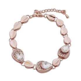 Bracelet à mailles en forme de gouttes dorées, orné de pierres