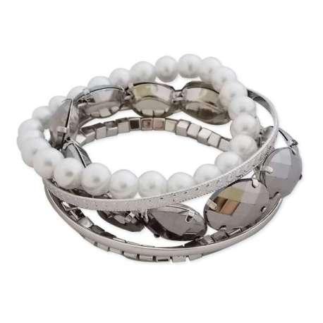 Bracelet de perles et d'argent à 5 pièces