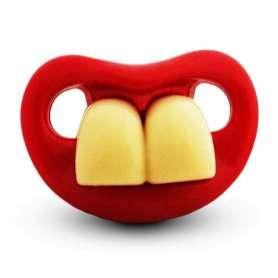 Tétine humoristique bouche deux grosses dents