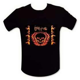 T-shirt equalizer tête de mort en feu LED lumineux