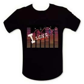 T-shirt equalizer « I Love music » lumineux LED