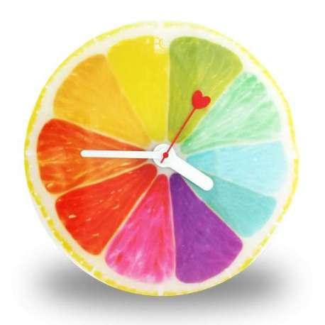 Horloge murale demi-citron de plusieurs couleurs