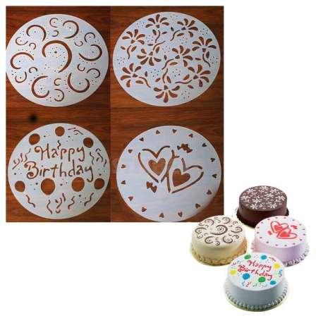 4 pochoirs à gâteau cake rond