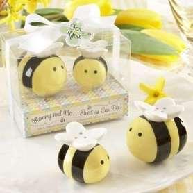 Salière et poivrière abeille