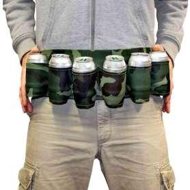 Ceinture à bière camouflage militaire 6 supports à canette