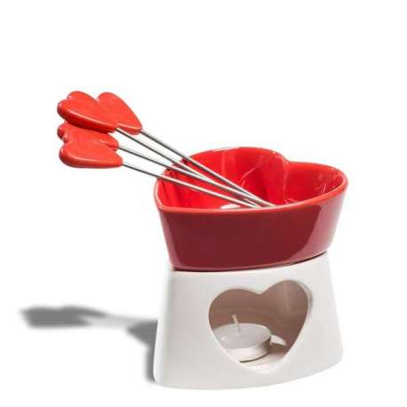 Fondue à chocolat cœur rouge en céramique