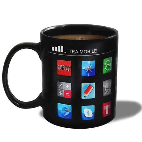 Tasse thermo-changeante applications smartphone