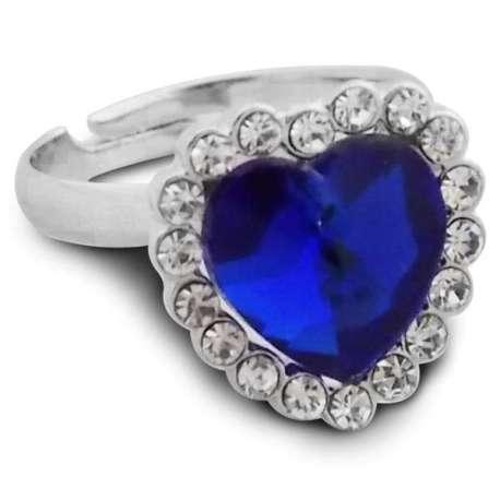 Bague couleur argent cœur bleu foncé
