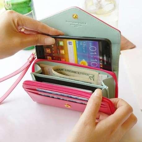 Portefeuille téléphone portable, cartes et monnaie