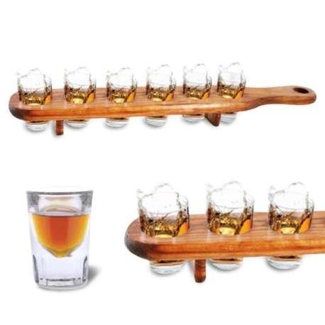6 verres à shoot et plateau de service