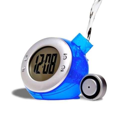 Réveil boule bleue fonctionnant à l'eau