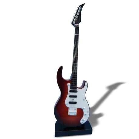 Mini guitare électronique sur son socle