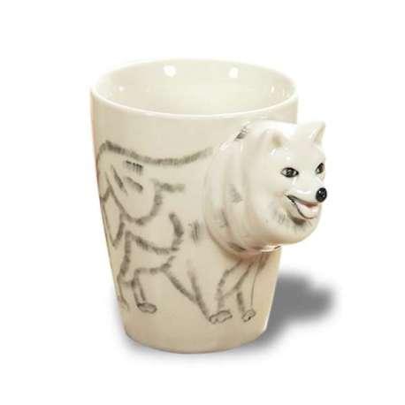 Tasse 3D céramique avec dessin chien loup