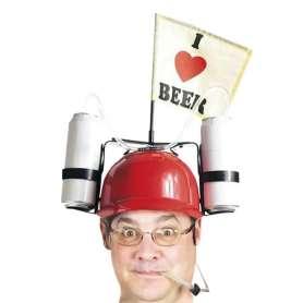 Casque à boire avec canettes et drapeau I Love Beer