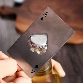 Ouvre-bouteille carte de jeu As de Pique en acier inoxydable