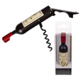 Ouvre bouteille tire-bouchon en forme de bouteille de vin rouge