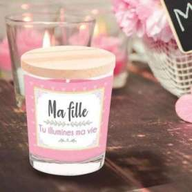 Bougie parfumée en verre « ma fille tu illumines ma vie »