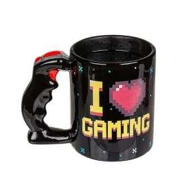 Tasse thermoréactive I love gaming à poignée joystick