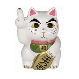 Tirelire maneki-neko avec doigt d'honneur